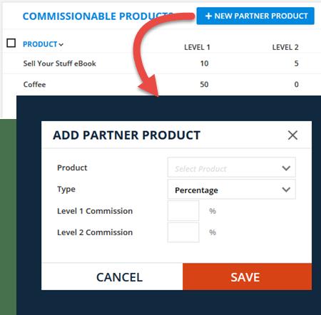 Add Partner Product Menu
