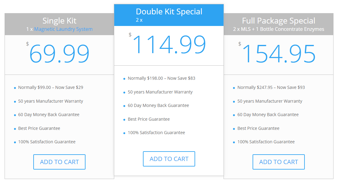 magnetic laundry system pricing