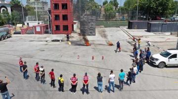 Gönüllü motosikletliler yangın eğitimi aldı