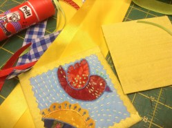 """4"""" binding ironed to rosette with the pinking cut side showing on the front side"""