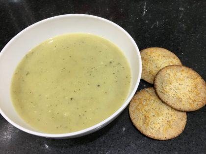 Buzymum - Quick Leek and Potato Soup with Parmesan Crackers