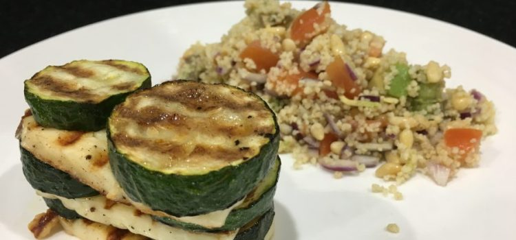 Halloumi & Courgette Tower with Tomato & Avocado Couscous