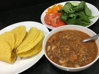Buzymum - All the stuff needed for messy beef, lentil and bean tacos
