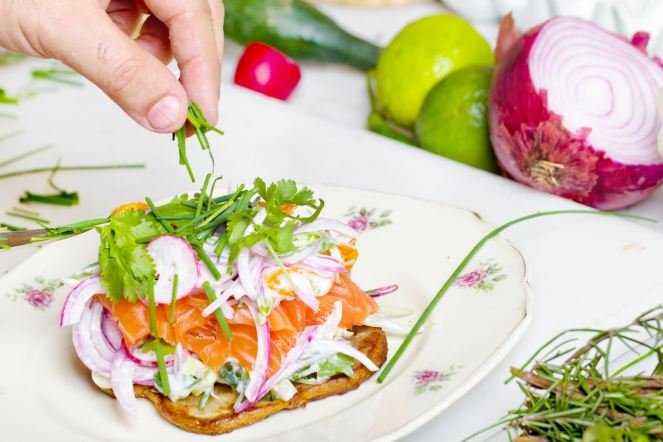 smoked salmon. herb salad open sandwich