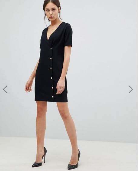 ASOS Button Front T-Shirt Dress In Ponte €41.99