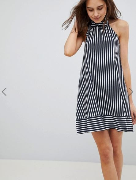 ASOS Halter Swing Sundress in Cut About Stripe
