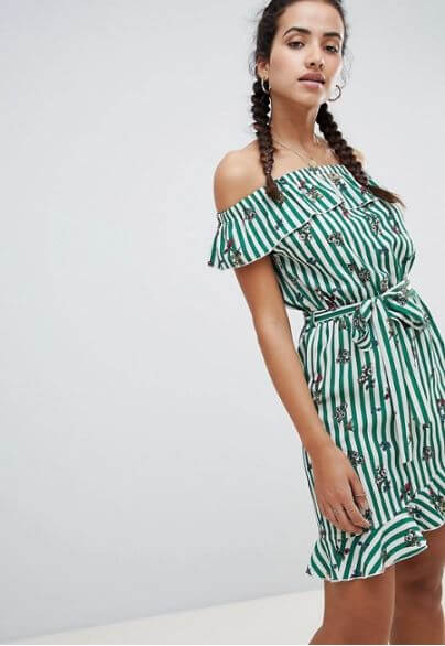 PrettyLittleThing Stripe and Floral Bardot Dress