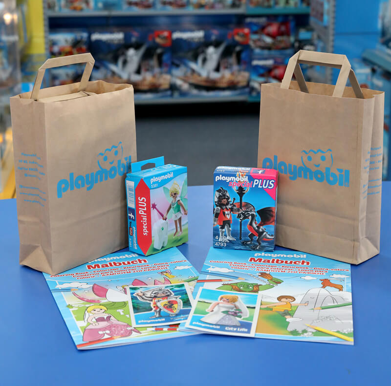 Party goodie bags at a Playmobil party.