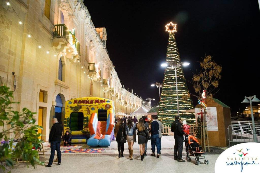 The Valletta Waterfront by night at Christmas time.