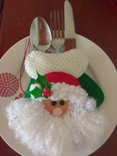 Christmas decor Santa spoon set and dishes