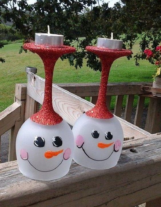 Christmas decor win glass candles