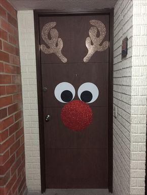 Christmas decor front door rain dear