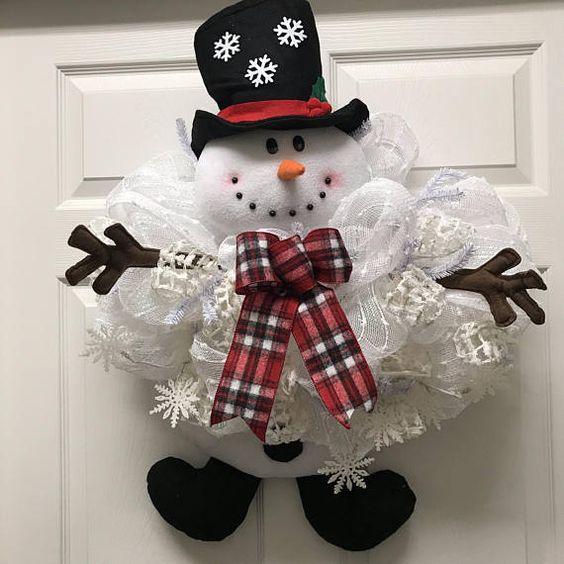 Christmas decor white snow man Wreaths