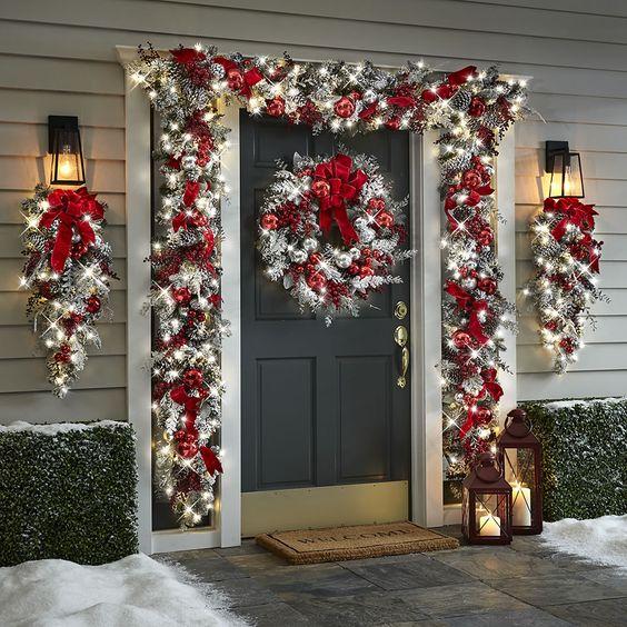 Christmas decor white front door