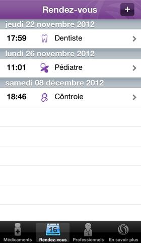 Application iPhone Mes traitements par Malakoff Mederic