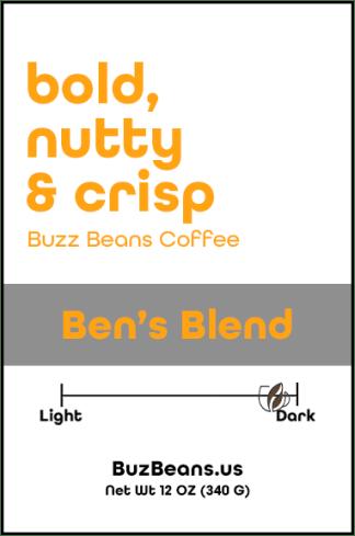 Buzz Beans Coffee Label Ben's Blend