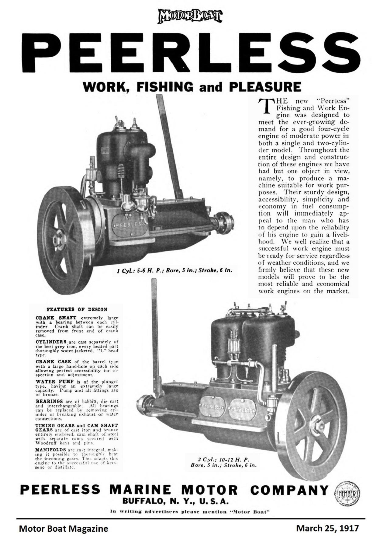 Old Marine Engine Peerless Marine Motors Co Buffalo N Y