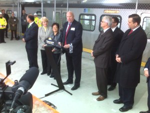 Our CEO Tom Prendergast said a few words when the train arrived at YVR. Here's a photo of him speaking, flanked by John Yap, MP (Richmond Steveston), Olga Ilich, MLA (Richmond), Alice Wong, MP (Richmond Centre), along with Premier Campbell, Minister Falcon and MP James Moore.
