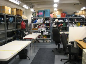 The main storage room where lost property items are kept. As you can see, they dont have a lot of room.