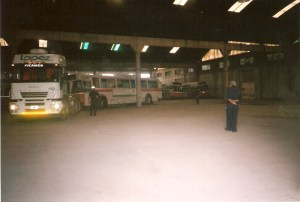 The trolley being towed into position in the Guaymallen depot (Guaymallen is a neighbourhood in Mendoza).