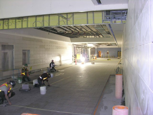 The long hallway at the concourse level.