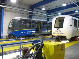 From 2009: two generations of SkyTrain car inside our operations and maintenance centre near Edmonds.