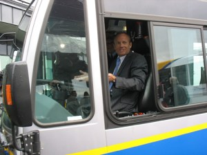 Stockwell Day, Canada's Minister of Public Safety, gets behind the wheel of one of our low-floor diesel buses. Minister Day attended our event on behalf of John Baird, the Transport and Infrastructure Minister.