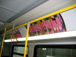 Instant Coffee 500, a series of 16 artworks that replaced the interior ad-cards on one articulated trolley. (The one pictured here is the winning card and will be enlarged and displayed on the outside of a third bus.)