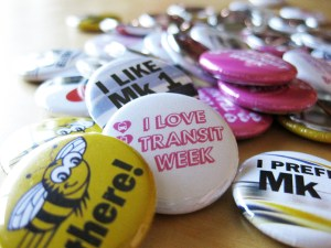 A sampling of the I Love Transit buttons that will be available! Four of these have been designed by the kind and super talented <a href=http://www.flickr.com/photos/jmv/>Jason Vanderhill</a>.