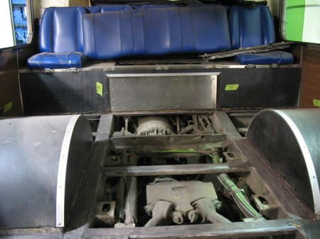 I got to stand inside the back of the articulated bus. Here's a photo of the back seats – the engine sits underneath it!