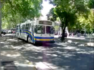 A still from the video of a retired trolley on the streets of Mendoza, Argentina, taking a test drive.