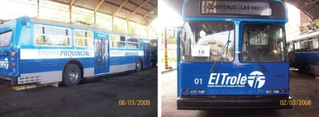 A retired TransLink trolley has been painted into the colours of the Mendoza, Argentina system!