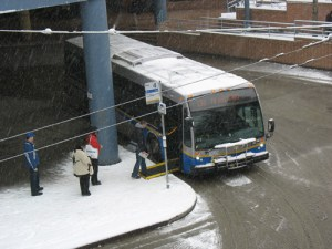 The 130 at Metrotown Loop was carrying a layer of snow this morning.