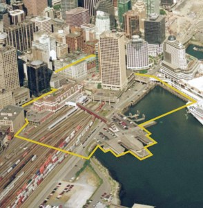 Here's the area around Waterfront Station that's being considered in these open houses.