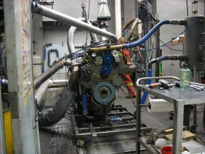 A rebuilt engine in testing inside the Dyno.