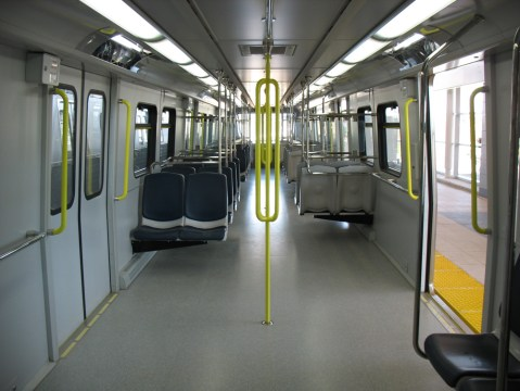 Inside of a Canada Line car. Click for a larger version.
