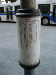 An example of an info tube from Metrotown bus loop.