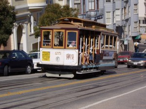 A trolley car in San Francisco. Photo by <a href=http://www.flickr.com/photos/23856328@N02/2272422620/>Dave Alter</a>.
