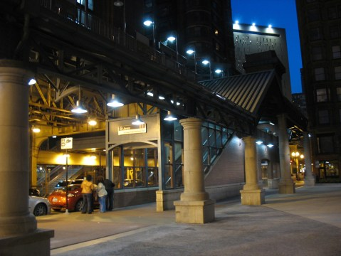Library Station on the elevated train system in downtown Chicago.