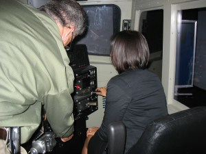 Yours truly driving the 1970s train. Yep, that's the back of my head, but you gotta keep your eyes on the road, you know?