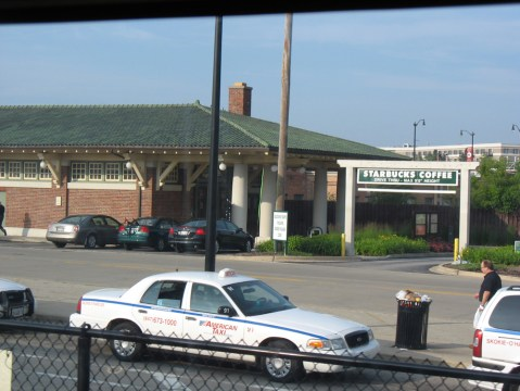 The view of the old station house from Skokie Station, in Skokie, northwest of Chicago.