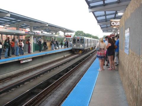 The platform at Fullerton Station on the Red Line.