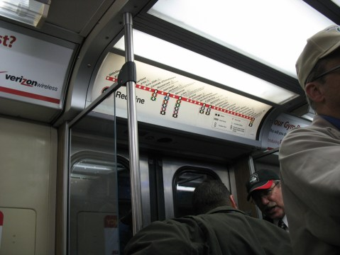 Red Line map above the car door.