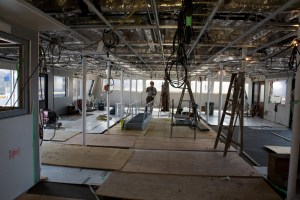 The interior of the SeaBus: it's not quite ready for passengers yet!