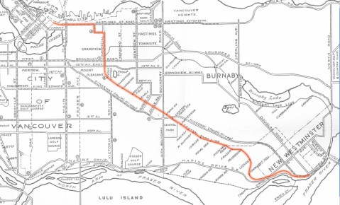 A map of the Central Park Line,  outlined on a 1936 Wrigley's transit map supplied by the <a href=http://burnabyvillagemuseum.ca/>Burnaby Village Museum</a>.