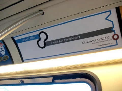 Langara College's new ads on the SkyTrain.