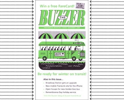 The November 2008 Buzzer cover, drawn by <a href=http://fifteen.ca/>Raymond Biesinger</a>.