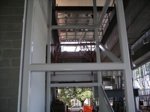 The new elevator shaft at the south side of the station awaits installation of the new elevator.