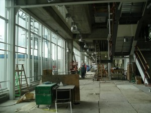 The interior of the station on the south side concourse. Floor tiles are being installed!