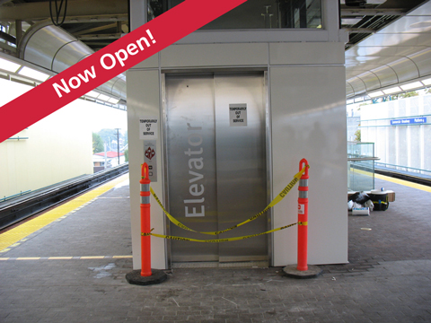 The elevator is now open on the south side of platforms 3 & 4!